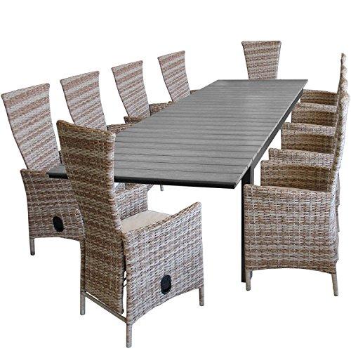 11tlg gartengarnitur aluminium polywood ausziehtisch gartentisch 280220x95cm 10x gartensessel. Black Bedroom Furniture Sets. Home Design Ideas