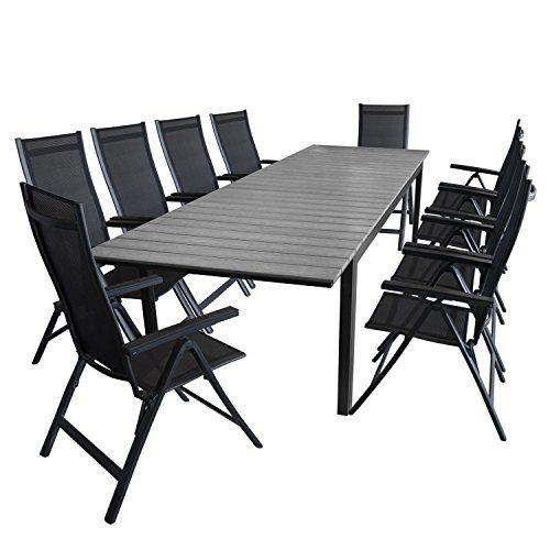 11tlg. Gartengarnitur Aluminium Polywood Gartentisch 280/220x95cm + 10x Hochlehner 4x4 Textilenbespannung Gartenstuhl - Gartenmöbel Sitzgarnitur Sitzgruppe