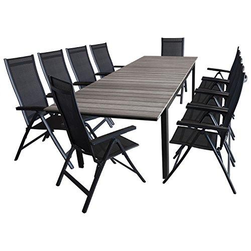 11tlg gartengarnitur ausziehtisch aluminiumrahmen polywood tischplatte grau 200250300x95cm 10x. Black Bedroom Furniture Sets. Home Design Ideas