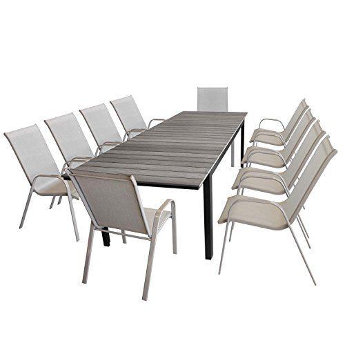 11tlg. Gartengarnitur Ausziehtisch, Aluminiumrahmen, Polywood-Tischplatte grau, 200/250/300x95cm + 10x stapelbarer Gartenstuhl champagner, Stahl, Textilenbespannung