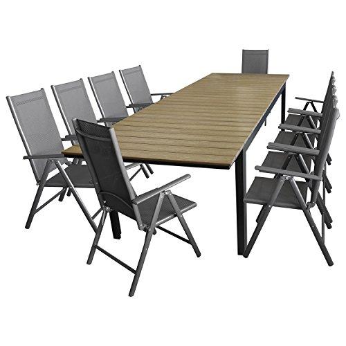 11tlg. Gartengarnitur Gartenmöbel Set Aluminium Polywood Ausziehtisch Gartentisch 280/220x95cm + 10x Hochlehner 2x2 Textilenbespannung - Sitzgarnitur Sitzgruppe