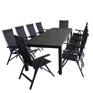 11tlg. Gartengarnitur - Gartentisch ausziehbar 205/275x100cm, Polywood Tischplatte + 10x Aluminium Hochlehner, Lehne 6-fach verstellbar, Textilenbespannung - schwarz / Sitzgarnitur Sitzgruppe Gartenmöbel Terrassenmöbel