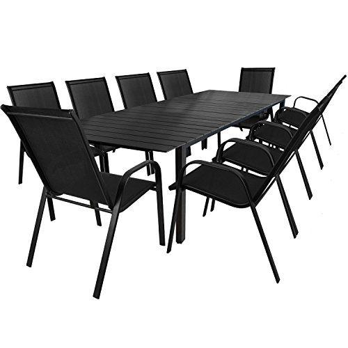 11tlg. Gartengarnitur Sitzgruppe Sitzgarnitur Gartenmöbel Set - Ausziehtisch, Polywood - Tischplatte, 220/280x95cm + 10 Stapelstühle, Schwarz