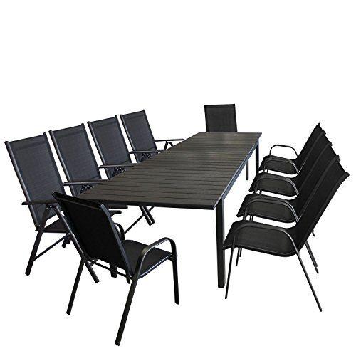 11tlg. Gartenmöbel Terrassenmöbel Set Sitzgarnitur Sitzgruppe Gartengarnitur - Ausziehtisch, Polywood-Tischplatte, 280/220x95cm + 6x Stapelstuhl + 4x Hochlehner, 7-fach verstellbare Lehne
