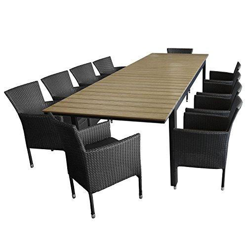 11tlg. Sitzgarnitur Sitzgruppe Gartengarnitur Aluminium Polywood Ausziehtisch Gartentisch 280/220x95cm + 10x Stapelsessel Polyrattan - Gartenmöbel Set