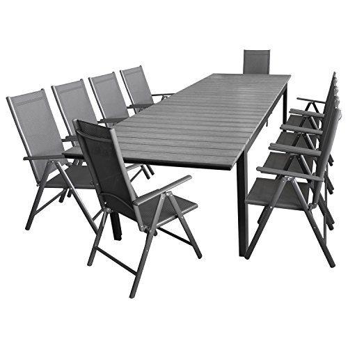 11tlg. Sitzgarnitur Sitzgruppe Gartengarnitur Gartenmöbel Terrassenmöbel Set Aluminium Polywood Ausziehtisch Gartentisch 280/220x95cm + 10x Hochlehner 2x2 Textilenbespannung