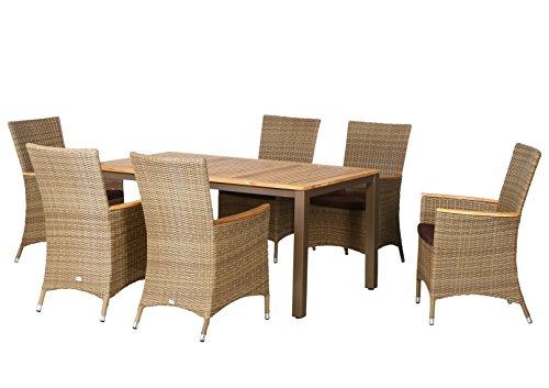13 teilige luxus aluminium teak polyrattan geflecht gartenmbelgruppe anaheim 6 diningsessel 6. Black Bedroom Furniture Sets. Home Design Ideas