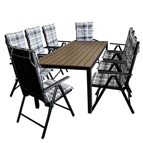 17tlg. Gartengarnitur Aluminium Gartentisch, Tischplatte Polywood Braun, 205x90cm + 8x Aluminium Hochlehner, 2x2 Textilenbespannung, Rückenlehne in 7fach verstellbar, schwarz + 8x Polsterauflage - Gartenmöbel Set Sitzgarnitur Sitzgruppe