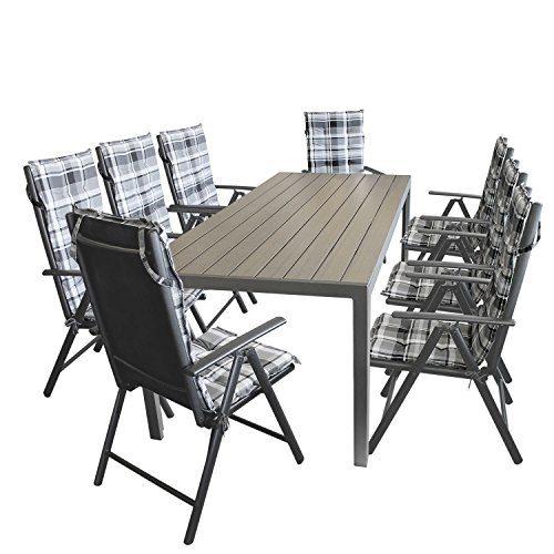 17tlg. Gartengarnitur Gartentisch, Aluminium, Polywood Tischplatte schwarz, 205x90cm + 8x Hochlehner, Textilenbespannung, Lehne 7-fach verstellbar + 8x Stuhlauflage / Terrassenmöbel Gartenmöbel Set Sitzgarnitur