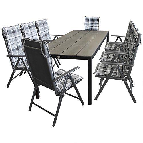 17tlg. Gartenmöbel Terrassenmöbel Set Sitzgarnitur Gartengarnitur - Gartentisch, Aluminium, Polywood Tischplatte, 205x90cm + 8x Hochlehner, Textilenbespannung, Lehne 7-fach verstellbar + 8x Sitzauflage
