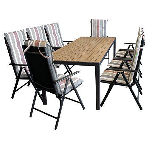 17tlg. Sitzgruppe Terrassenmöbel Gartenmöbel Set Gartengarnitur - Gartentisch, 205x90cm, Polywood-Tischplatte, braun + 8x Gartenstuhl, 7-fach verstellbare Lehne, klappbar + 8x Sitzauflage 'Brooklyn'