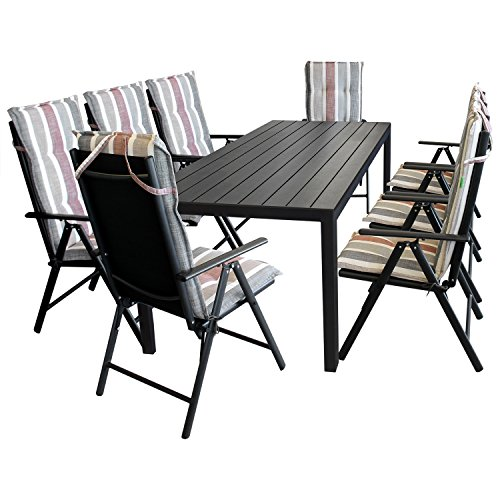 17tlg terrassenm bel gartenm bel set sitzgruppe gartengarnitur gartentisch 205x90cm. Black Bedroom Furniture Sets. Home Design Ideas