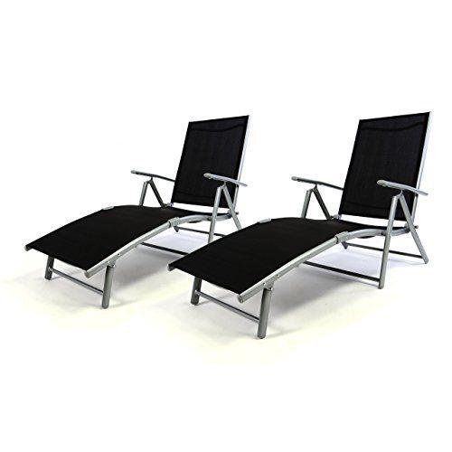 2er Set Klappliege Alu Textilene Sonnenliege Liegestuhl Campingliege schwarz klappbar
