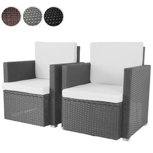 2er set loungesessel aus polyrattan gartenm bel inkl sitzkissen farbwahl schwarz grau oder. Black Bedroom Furniture Sets. Home Design Ideas