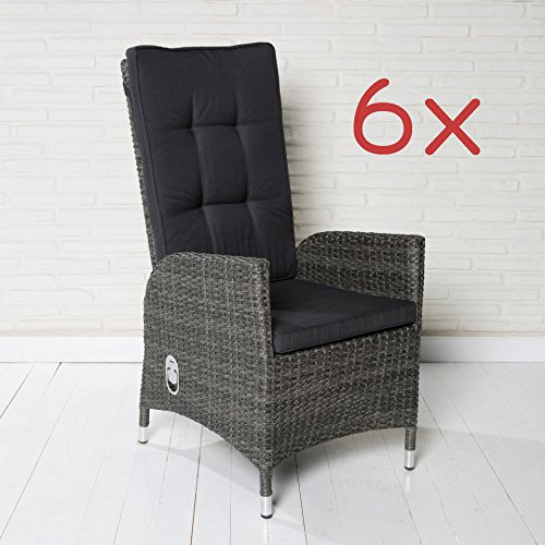 6 polyrattan gartensessel luxus rocking chair saint tropez grau gartenstuhl alu m bel24. Black Bedroom Furniture Sets. Home Design Ideas