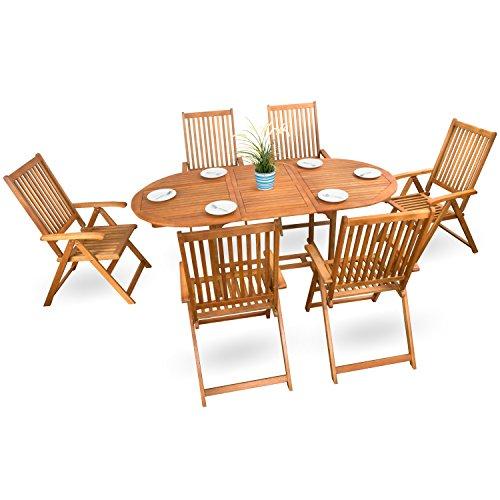 7-tlg. Holz Gartenmöbel Sitzgruppe Holzmöbel Set Holz Sitzgarnitur Essgarnitur Akazie geölt - 6x verstellbarer Klappstuhl 1x ausziehbarer Tisch # ohne Auflagen