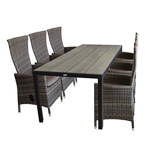 7tlg aluminium polywood gartenmbel set gartentisch. Black Bedroom Furniture Sets. Home Design Ideas