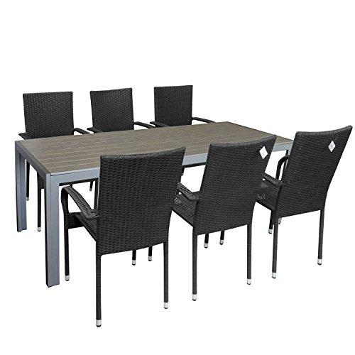 7tlg. Gartengarnitur Gartenmöbel-Set Gartentisch mit Polywood Tischplatte 205x90cm stapelbare Rattansessel Stapelstuhl Polyrattan Sitzgarnitur Sitzgruppe Terrassenmöbel Gartenmöbel