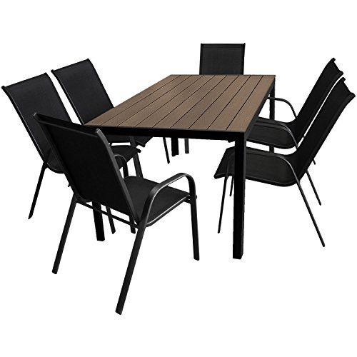 7tlg. Gartengarnitur Gartenmöbel Terrassenmöbel Set Sitzgruppe Gartentisch 150x90cm mit Polywood Tischplatte + 6 stapelbare Gartenstühle mit Textilenbespannung