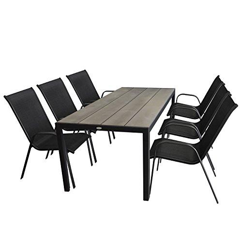 7tlg. Gartengarnitur Gartentisch, Aluminium, Tischplatte Polywood, Grau, 205x90cm + 6x Stapelstuhl, Textilenbespannung, Schwarz - Gartenmöbel Set Sitzgarnitur Sitzgruppe