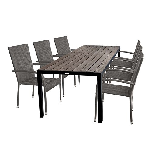 7tlg gartengarnitur gartentisch mit polywood tischplatte 205x90cm 6x stapelbare gartenst hle. Black Bedroom Furniture Sets. Home Design Ideas