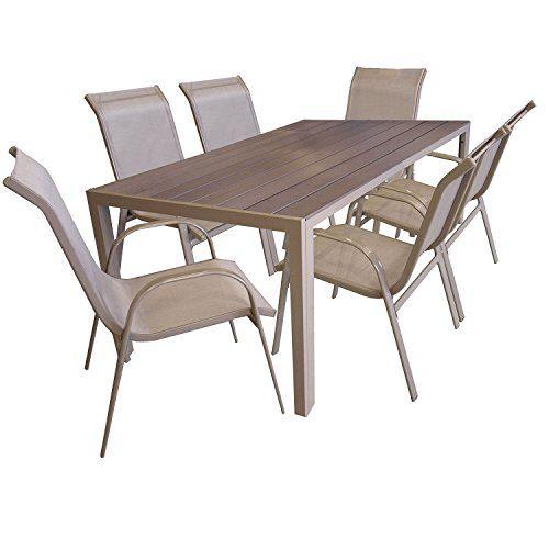 7tlg Gartengarnitur Sitzgruppe Gartenmöbel Set Aluminium Gartentisch mit Polywood Tischplatte 205x90cm Stapelstuhl pulverbeschichtet mit Textilenbespannung Champagner