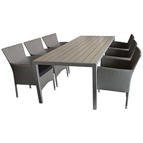 7tlg. Gartengarnitur Sitzgruppe Terrassenmöbel Gartenmöbel Set - Gartentisch, 205x90cm, Polywood-Tischplatte grau + 6x Sessel, Poly Rattan, stapelbar, grau-meliert, inkl. Kissen