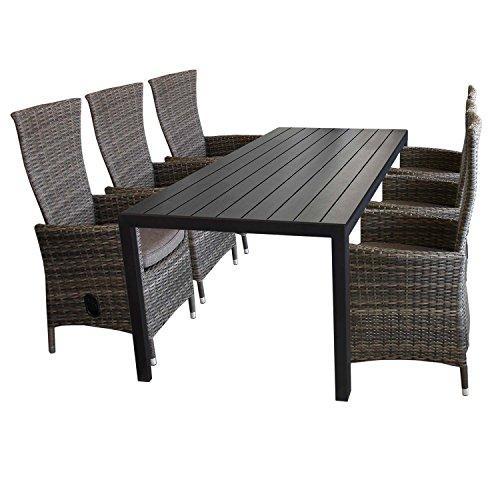 7tlg gartenm bel set aluminium polywood gartentisch - Gartenmobel polyrattan braun ...