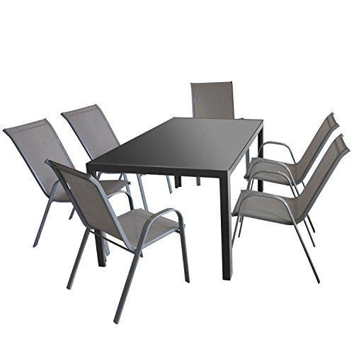7tlg. Gartenmöbel Set Gartentisch, Aluminium, Tischglasplatte anthrazit undurchsichtig, 160x90cm + 6x Stapelstuhl Cairo, Textilenbespannung in Grau, platzsparend stapelbar / Gartengarnitur