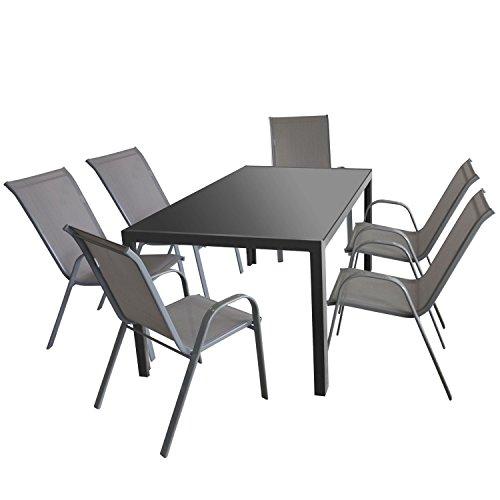 7tlg gartenm bel set gartentisch aluminium. Black Bedroom Furniture Sets. Home Design Ideas