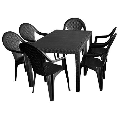 7tlg. Sitzgruppe Gartengarnitur Terrassenmöbel Gartenmöbel Campingmöbel Set - Gartentisch, 150x90cm + 6x Stapelstuhl, Rattan-Look - Kunststoff