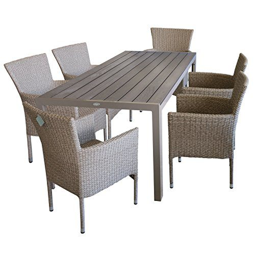 7tlg. Terrassenmöbel Gartenmöbel Set Gartengarnitur Sitzgruppe Sitzgarnitur - Gartentisch, Polywood-Tischplatte, 205x90cm, champagner + 6x Gartensessel, Poly-Rattangeflecht, naturfarben