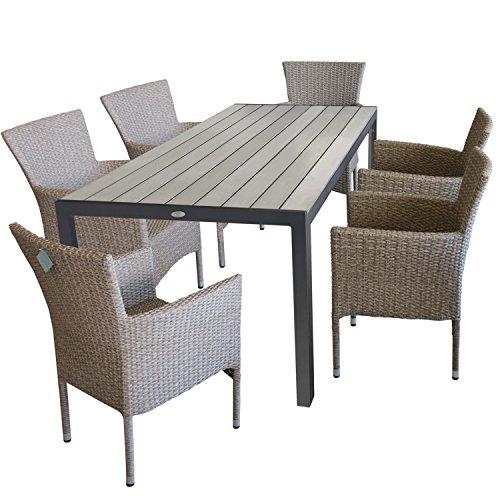 7tlg. Terrassenmöbel Gartenmöbel Set Gartengarnitur Sitzgruppe Sitzgarnitur - Gartentisch, Polywood-Tischplatte, 205x90cm, grau + 6x Gartensessel, Poly-Rattangeflecht, naturfarben