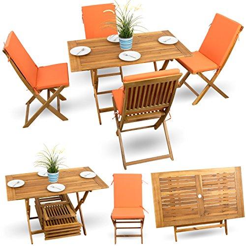 9-tlg Gartenmöbel Balkonset Gartenstuhl Holz Bistroset Terrassen Set Balkonmöbel Akazie geölt # 4x Klappstuhl # 1x Klappstuhl # 4x Sitz Auflagen #orange