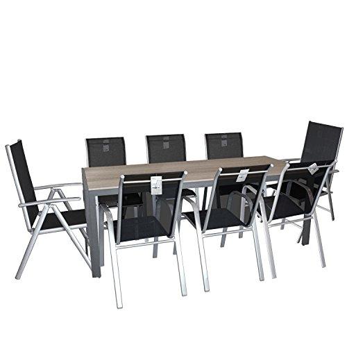 9tlg Gartengarnitur Sitzgruppe Gartenmöbel Set Gartentisch mit Polywood Tischplatte 205x90cm Gartenstuhl Stapelstuhl + Hochlehner mit Textilenbespannung