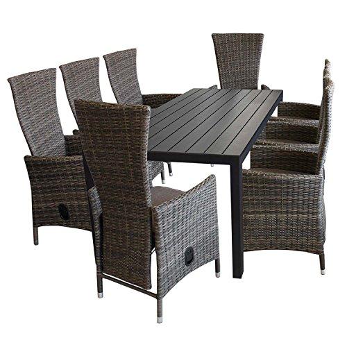9tlg gartenmbel set aluminium polywood gartentisch 205x90cm 8x gartensessel polyrattan braun - Gartenmobel set polyrattan braun ...
