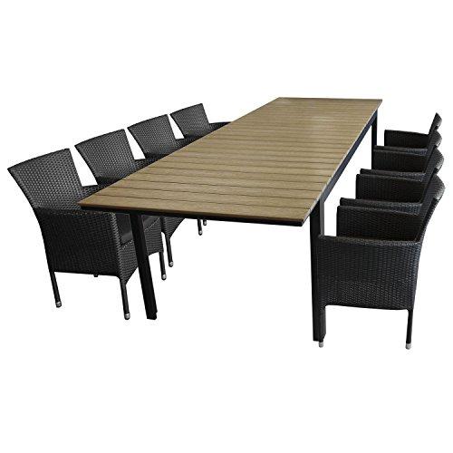 9tlg sitzgarnitur sitzgruppe gartengarnitur aluminium polywood ausziehtisch gartentisch 280. Black Bedroom Furniture Sets. Home Design Ideas