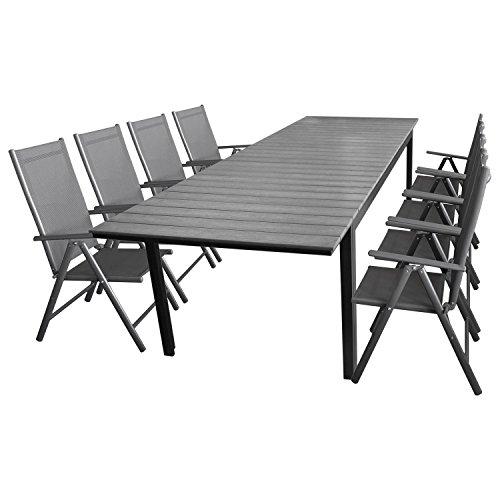 9tlg. Sitzgarnitur Sitzgruppe Gartengarnitur Terrassenmöbel Gartenmöbel Set Aluminium Polywood Ausziehtisch Gartentisch 280/220x95cm + 8x Hochlehner 2x2 Textilenbespannung