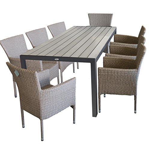 9tlg. Terrassenmöbel Gartenmöbel Set Gartengarnitur Sitzgruppe Sitzgarnitur - Gartentisch, Polywood-Tischplatte, 205x90cm, grau + 8x Gartensessel, Poly-Rattangeflecht, naturfarben