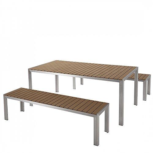 Aluminium Gartenmöbel Set braun - Tisch 180cm - 2 Bänke - Polywood - NARDO