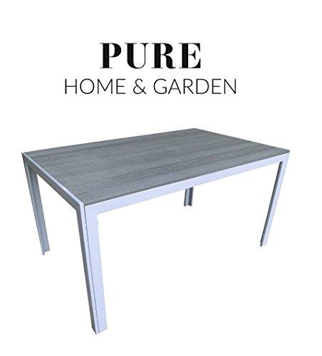 "Aluminium Gartentisch ""Fire XL"" mit Polywood Tischplatte, 150x90 absolut wetterfest, silber aus dem Hause Pure Home & Garden"