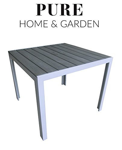 "Aluminium Gartentisch ""Fire"" mit Polywood Tischplatte, 90x90 absolut wetterfest, silber aus dem Hause Pure Home & Garden"
