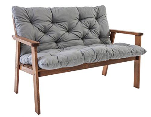 Ambientehome Gartenbank 2er Bank Massivholz Holzbank inkl. Kissen HANKO + Classic Accessories Ravenna Abdeckung für Gartenbank