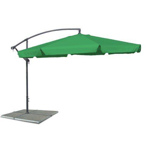Ampelschirm, Sonnenschirm mit 350 cm Durchmesser in grün, Material Polyester 160G, wasserabweisend, Metallstreben, Neigungswinkel verstellbar, mit Kurbelsystem