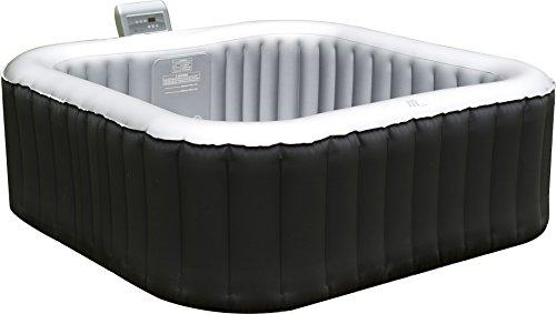 Aufblasbarer Whirlpool / Jacuzzi mit Heizfunktion (bis 42°C), Selbstaufblasend, In- und Outdoor Spa Pool,158x158 cm, 108 Massagedüsen, 650 Liter, für 4 Personen, inkl. Bodenmatte und Abdeckplane