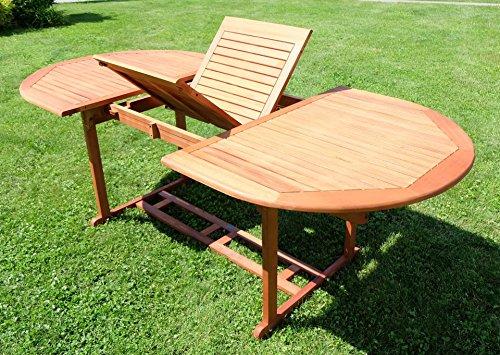 Ausziehtisch 150-200 x 100cm Holztisch Gartentisch Garten Tisch geölt Holz Eukalyptus Hartholz wie Teak von AS-S
