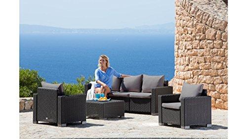 BEST Loungeset Mombasa, 14-tgl., 3er-Sofa, 2 Sessel, Tisch 68x68 cm, Kunststoff