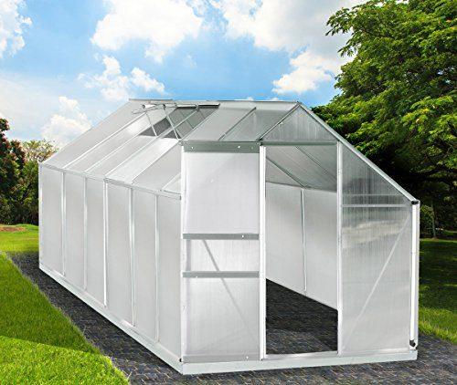 BRAST Aluminium Gewächshaus mit Stahlfundament 15,1m³ Treibhaus Glashaus 6mm Platten