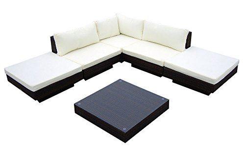 Baidani Gartenmöbel-Sets 10c00002.00002 Designer Rattan Lounge Sunqueen, 1 Sofa, 1 Beistelltisch mit Glasplatte, braun