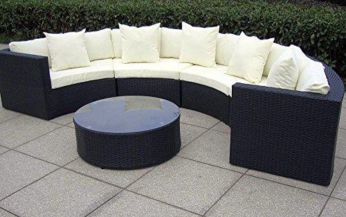 Baidani Rattan Garten Lounge Garnitur Skylounge - Schwarz